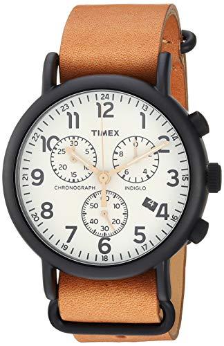 腕時計 タイメックス メンズ 【送料無料】Timex Men's TW2T29300 Weekender Chrono Tan/Black/Cream Two-Piece Leather Strap Watch腕時計 タイメックス メンズ