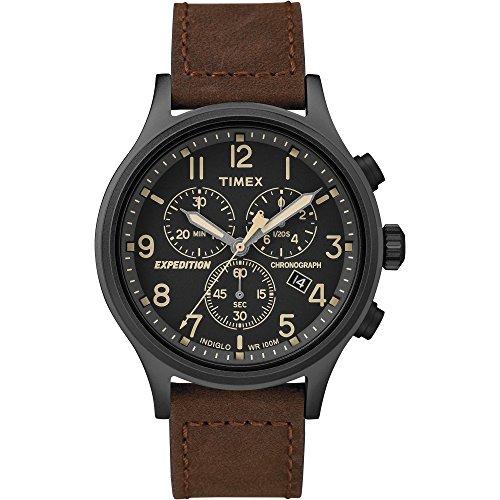 腕時計 タイメックス メンズ 【送料無料】Timex Men's TW4B15700 Expedition Scout Chrono Brown/Black Leather Strap Watch腕時計 タイメックス メンズ