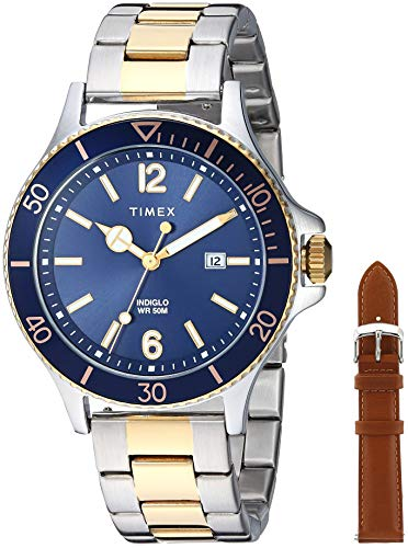 タイメックス 腕時計 メンズ 【送料無料】Timex Men's TWG019600 Harborside Two-Tone/Blue Stainless Steel Bracelet Watch Gift Set + Tan Genuine Leather Strapタイメックス 腕時計 メンズ