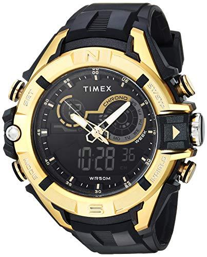 腕時計 タイメックス メンズ 【送料無料】Timex Men's TW5M23100 DGTL Guard Bold Combo 47mm Black/Gold-Tone Resin Strap Watch腕時計 タイメックス メンズ