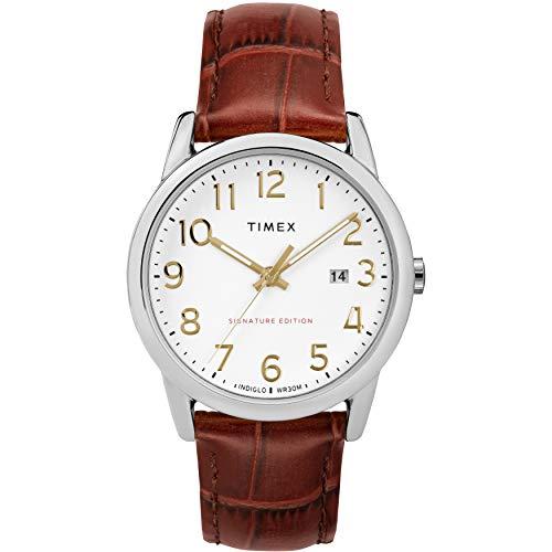 タイメックス 腕時計 メンズ 【送料無料】Timex Men's TW2R65000 Easy Reader Signature 38mm Brown/Silver-Tone Leather Strap Watchタイメックス 腕時計 メンズ