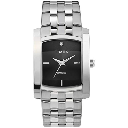 タイメックス 腕時計 メンズ 【送料無料】Timex Men's Dress Analog 33mm Stainless Steel Bracelet Watch with Genuine Diamond, Silver-Tone/Blackタイメックス 腕時計 メンズ