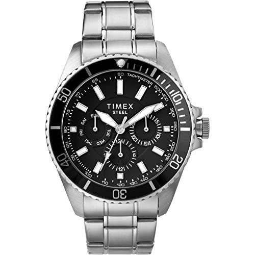 タイメックス 腕時計 メンズ 【送料無料】Timex Men's Dress Analog 44mm Stainless Steel Multifunction Bracelet Watch, Silver-Tone/Blackタイメックス 腕時計 メンズ
