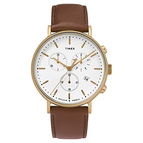 タイメックス 腕時計 メンズ Timex Men's Fairfield Chronograph 41mm Leather Strap Watch (One Size, Gold Tone/Brown/White)タイメックス 腕時計 メンズ