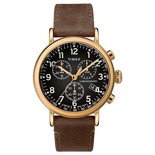 タイメックス 腕時計 メンズ 【送料無料】Timex 41 mm Standard Chronograph Leather Strap Black/Brown One Sizeタイメックス 腕時計 メンズ