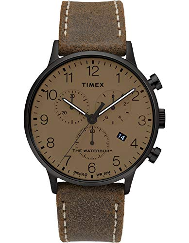 腕時計 タイメックス メンズ 【送料無料】Timex Men's Waterbury Classic Chronograph 40mm Stainless Steel Analog Quartz Leather Strap, Brown, 20 Casual Watch (Model: TW2T28300VQ)腕時計 タイメックス メンズ