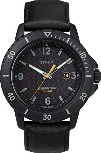 腕時計 タイメックス メンズ 【送料無料】Timex Men's Year-Round Solar Powered Watch with Leather Strap, Black, 22 (Model: TW4B14700)腕時計 タイメックス メンズ