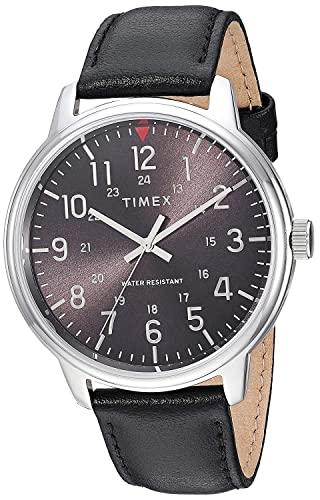 タイメックス 腕時計 メンズ 【送料無料】Timex Men's TW2R85500 Classic 43mm Black/Silver-Tone Leather Strap Watchタイメックス 腕時計 メンズ
