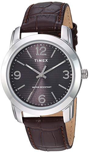 タイメックス 腕時計 メンズ 【送料無料】Timex Men's TW2R86700 Classic 39mm Black/Silver-Tone/Brown Leather Strap Watchタイメックス 腕時計 メンズ