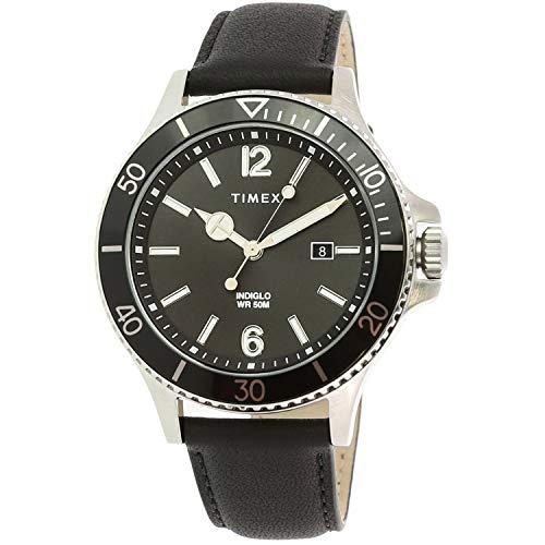 腕時計 タイメックス メンズ 【送料無料】Timex Men's Harborside TW2R64400 Black Leather Analog Quartz Fashion Watch腕時計 タイメックス メンズ