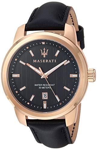 マセラティ イタリア 腕時計 メンズ 【送料無料】MASERATI Men's SUCCESSO? Stainless Steel Quartz Leather Calfskin Strap, Black, 20.2 Casual Watch (Model: R8851121011)マセラティ イタリア 腕時計 メンズ