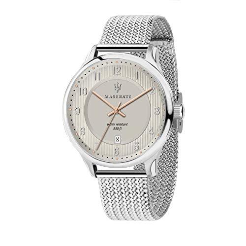 マセラティ イタリア 腕時計 メンズ 【送料無料】MASERATI Men's Gentleman Quartz Stainless-Steel Strap, Silver, 20 Casual Watch (Model: R8853136001)マセラティ イタリア 腕時計 メンズ