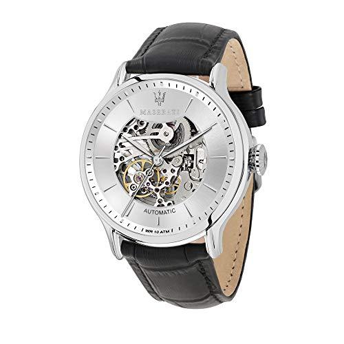 マセラティ イタリア 腕時計 メンズ MASERATI Men's Epoca Stainless Steel Quartz Leather Strap, Black, 13 Casual Watch (Model: R8821118005)マセラティ イタリア 腕時計 メンズ