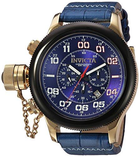インヴィクタ インビクタ 腕時計 メンズ 【送料無料】Invicta Men's Russian Diver Stainless Steel Quartz Watch with Leather-Calfskin Strap, Blue, 26 (Model: 22292)インヴィクタ インビクタ 腕時計 メンズ