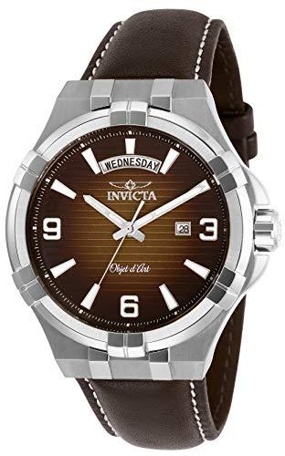 腕時計 インヴィクタ インビクタ メンズ 【送料無料】Invicta Men's Objet D Art Stainless Steel Quartz Watch with Leather Strap, Brown, 24 (Model: 30184)腕時計 インヴィクタ インビクタ メンズ