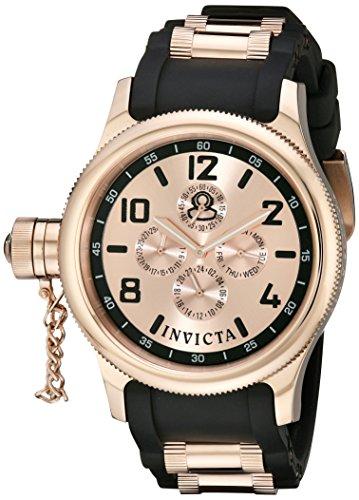 インヴィクタ インビクタ 腕時計 メンズ Invicta Men's 1804 Russian Diver Rose Dial Black Polyurethane Watchインヴィクタ インビクタ 腕時計 メンズ