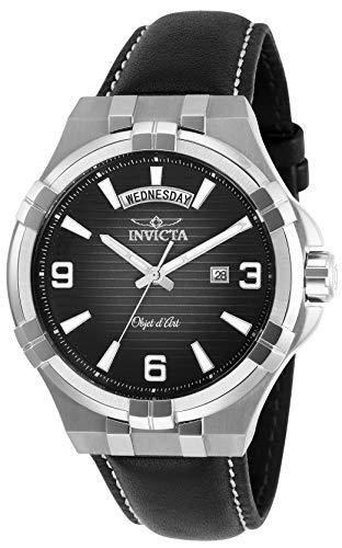 インヴィクタ インビクタ 腕時計 メンズ 【送料無料】Invicta Men's Objet D Art Stainless Steel Quartz Watch with Leather Strap, Black, 24 (Model: 30183)インヴィクタ インビクタ 腕時計 メンズ