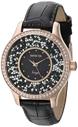インヴィクタ インビクタ 腕時計 レディース 【送料無料】Invicta Women's Angel Stainless Steel Quartz Watch with Leather Calfskin Strap, Black, 18 (Model: 24565)インヴィクタ インビクタ 腕時計 レディース