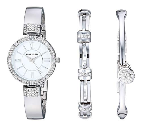 アンクライン 腕時計 レディース Anne Klein Women's AK/3295SVST Swarovski Crystal Accented Silver-Tone Bangle Watch and Bracelet Setアンクライン 腕時計 レディース