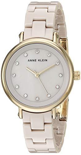 アンクライン 腕時計 レディース 【送料無料】Anne Klein Women's AK/3312TNGB Swarovski Crystal Accented Gold-Tone and Tan Ceramic Bracelet Watchアンクライン 腕時計 レディース