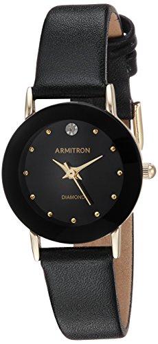 アーミトロン 腕時計 レディース 75/2447BLK 【送料無料】Armitron Women's 75/2447BLK Diamond-Accented Watch with Black Leather Bandアーミトロン 腕時計 レディース 75/2447BLK