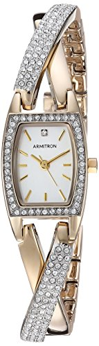 アーミトロン 腕時計 レディース 75/5242SVTT 【送料無料】Armitron Women's 75/5242SVTT Swarovski Crystal Accented Organic Shaped Two-Tone Bangle Watchアーミトロン 腕時計 レディース 75/5242SVTT