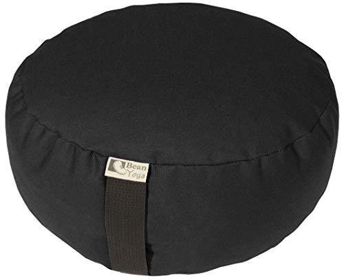 ヨガ フィットネス 【送料無料】Bean Products Black - Round Zafu Meditation Cushion - Yoga - 10oz Cotton - Organic Buckwheat Fill - Made in USAヨガ フィットネス