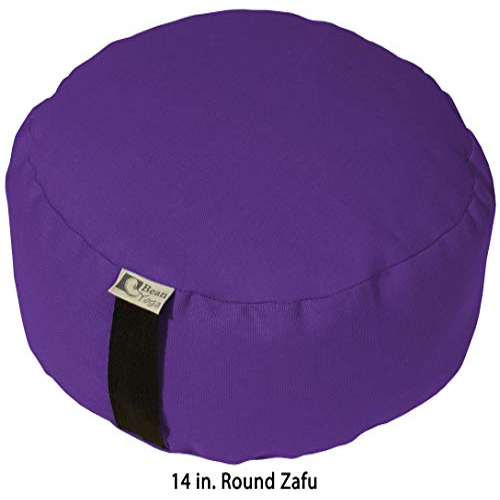 ヨガ フィットネス Bean Products Purple - Oval Zafu Meditation Cushion - Yoga - 10oz Cotton - Organic Buckwheat Fill - Made in USAヨガ フィットネス