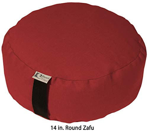 ヨガ フィットネス 【送料無料】Bean Products RED - Round Zafu Meditation Cushion - Yoga - 10oz Cotton - Organic Buckwheat Fill - Made in USAヨガ フィットネス