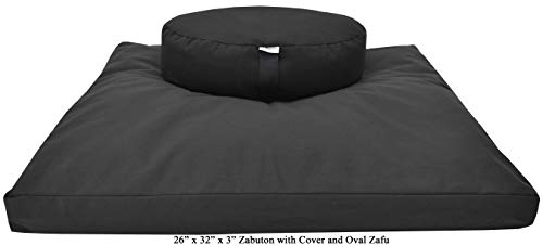 ヨガ フィットネス 【送料無料】Bean Products Zafu & Zabuton Meditation Cushion, Oval, Cotton Black - Filled with Natural Cotton & Buckwheatヨガ フィットネス