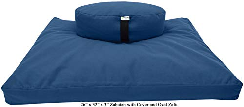 ヨガ フィットネス 【送料無料】Bean Products Zafu & Zabuton Meditation Cushion, Round, Cotton Royal Blue - Filled with Natural Cotton & Buckwheatヨガ フィットネス