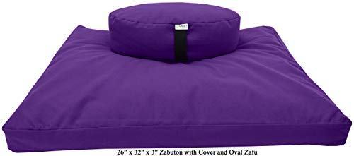 ヨガ フィットネス 【送料無料】Bean Products Zafu & Zabuton Meditation Cushion, Oval, Cotton Purple - Filled with Natural Cotton & Buckwheatヨガ フィットネス