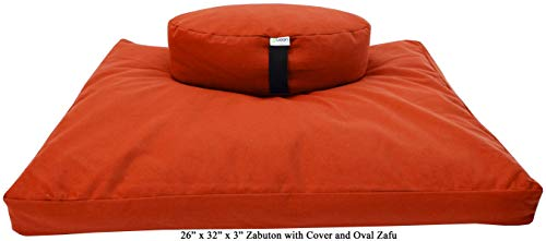 ヨガ フィットネス 【送料無料】Bean Products Zafu & Zabuton Meditation Cushion, Oval, Cotton Tangerine - Filled with Natural Cotton & Buckwheatヨガ フィットネス