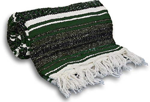 ヨガ フィットネス YogaAccessories Traditional Mexican Yoga Blanket ( Dark Green)ヨガ フィットネス