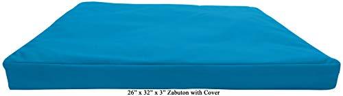 ヨガ フィットネス Bean Products Aqua - Zabuton Meditation Cushion & Cover - Standard Size - 24 x 24 x 2 - Yoga - 100% Cotton - Made in USAヨガ フィットネス