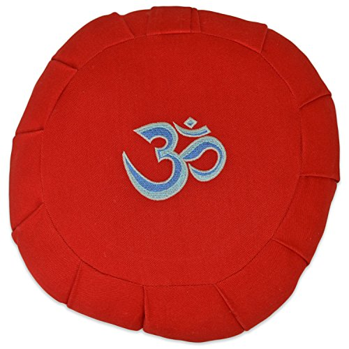 ヨガ フィットネス 【送料無料】YogaAccessories Round Cotton Zafu Meditation Cushion - 3 Color Ohm on Redヨガ フィットネス