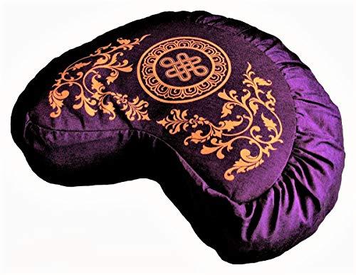 ヨガ フィットネス Boon Decor Meditation Cushion Crescent Zafu Buckwheat Pillow Endless Knot Purpleヨガ フィットネス