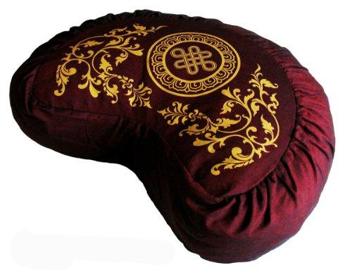 ヨガ フィットネス Boon Decor Meditation Cushion Crescent Zafu - Eternal Knot - Burgundyヨガ フィットネス