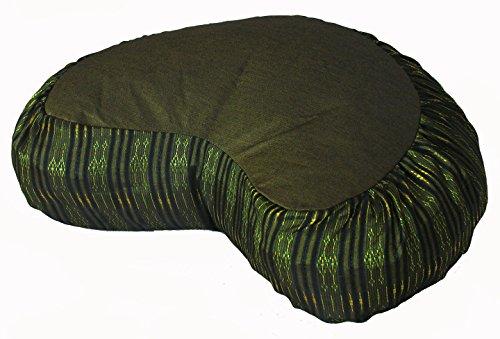 ヨガ フィットネス 【送料無料】Boon Decor Meditation Cushion Crescent Zafu - Global Weave Olive Greenヨガ フィットネス