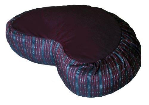 ヨガ フィットネス Boon Decor Meditation Cushion Crescent Zafu Pillow - Global Weave Burgundyヨガ フィットネス