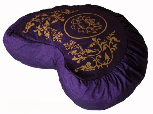 ヨガ フィットネス Boon Decor Meditation Cushion Crescent Zafu - Lotus Enlightenment - Purpleヨガ フィットネス