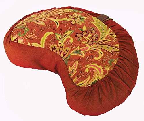 ヨガ フィットネス 【送料無料】Boon Decor Meditation Cushion Crescent Zafu Pillow - Japanese Silk Print #5ヨガ フィットネス
