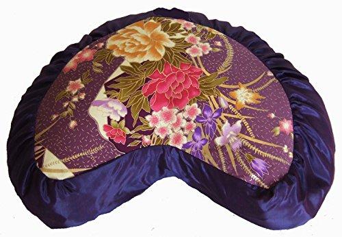 ヨガ フィットネス Boon Decor Meditation Cushion Crescent Zafu - Japanese Silk Print - Limited Editionヨガ フィットネス
