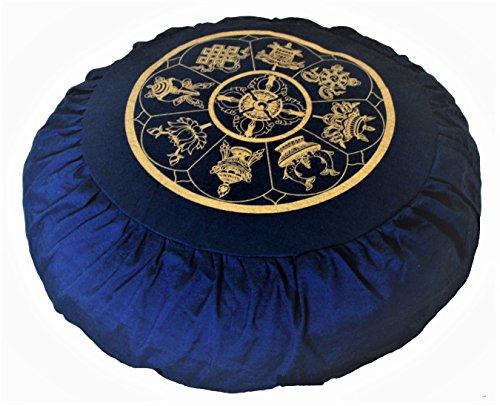 ヨガ フィットネス Boon Decor Meditation Cushion Zafu Buckwheat Pillow Eight Auspicious Sacred Symbols - Blueヨガ フィットネス