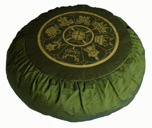ヨガ フィットネス Boon Decor Meditation Cushion Zafu Buckwheat Pillow Eight Auspicious Sacred Symbols - Olive Greenヨガ フィットネス