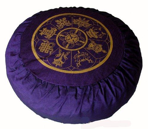 ヨガ フィットネス Boon Decor Meditation Cushion Zafu Buckwheat Pillow Eight Auspicious Sacred Symbols - Purpleヨガ フィットネス