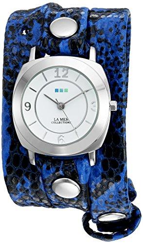 ラメールコレクションズ 腕時計 レディース LMODY2001 La Mer Collections Women's 'La Mer Collections Women's Electric Blue Snake Silver Odyssey Wrap Watch' Quartz Two Tone Leather Casual Watch (Model: Lラメールコレクションズ 腕時計 レディース LMODY2001