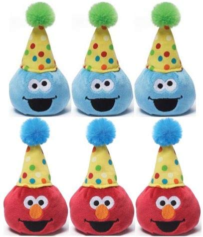 ガンド ぬいぐるみ リアル お世話 かわいい 【送料無料】Gund Sesame Street 3.5 inch Birthday Beanbag Pals (3 Elmo and 3 Cookie Monster)ガンド ぬいぐるみ リアル お世話 かわいい