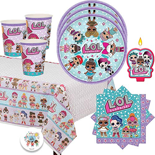 エルオーエルサプライズ 人形 ドール 【送料無料】L.O.L Surprise Birthday Party Pack for 16 with Plates, Napkins, Cups, Tablecover, Candle and EXCLUSIVE Birthday Pin by Another Dream!エルオーエルサプライズ 人形 ドール