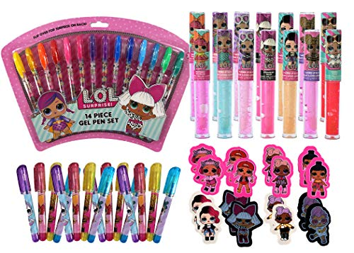エルオーエルサプライズ 人形 ドール 【送料無料】L.O.L. Surprise! Dolls Officially Licensed Birthday Party Favors Set For 14 Guests | Includes Lip Gloss, Gel Pens, Mini Gel Pens and Erasers | Back To School and エルオーエルサプライズ 人形 ドール